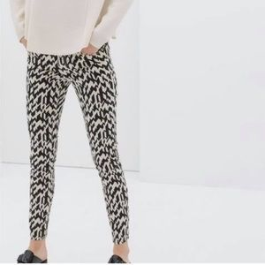 Zara Black and Cream Pocket Print Trousers